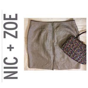 Nic + Zoe Skirt Exposed Zipper Size 8P